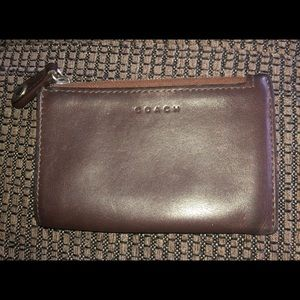 Preloved vintage Coach brown leather small wallet